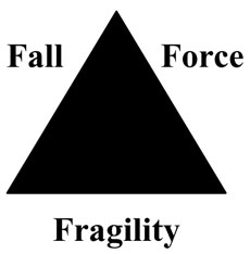 Triangle diagram of the relationship between fall, force, and fragility